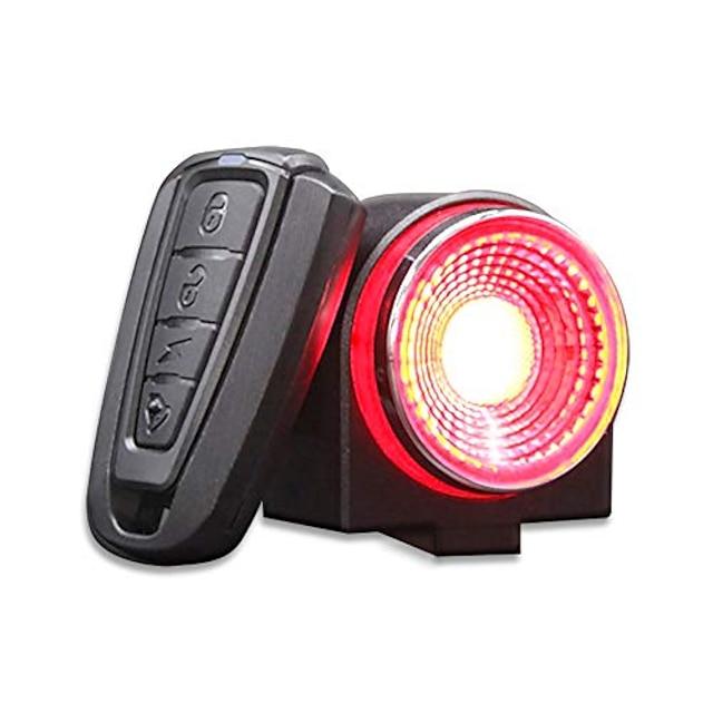 sykkel alarm baklys usb oppladbare ultra lyse bak sykkellys, smart bremseføler anti tyveri sykkel alarm med fjernkontroll, ipx65 vanntett led baklys