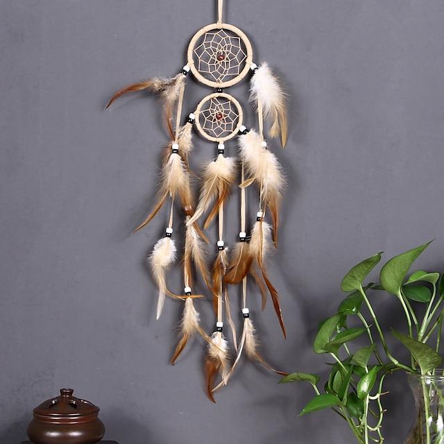 boho dream catcher håndlaget gave veggoppheng dekor dekorativ kunst håndverk fjær 2 sirkler perle for barn soverom bryllupsfestival 50 * 9 cm