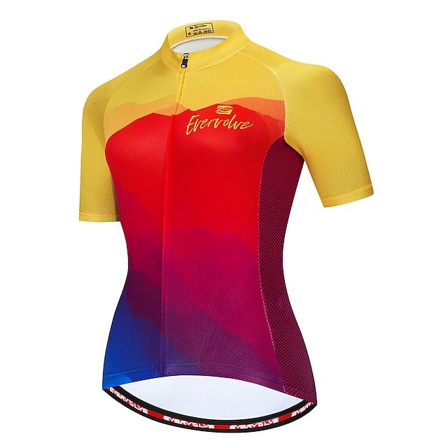 สำหรับผู้หญิง แขนสั้น เสื้อปั่นจักรยาน ฤดูร้อน แดง+เหลือง สีฟ้า+สีเหลือง สีชมพู สายรุ้ง จักรยาน เสื้อยืด ระบายอากาศ กระเป๋าหลัง กีฬา เสื้อผ้าถัก / ผสมยางยืดไมโคร / นักกีฬา