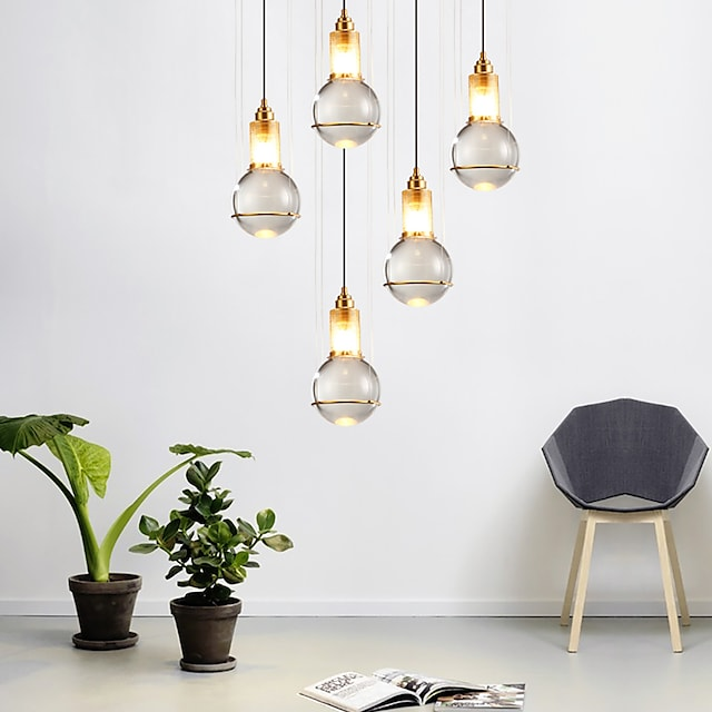1pc 15 cm design único led luz pendente de cristal nórdico moderno metal led lâmpada de cabeceira sala de jantar 110-120v 220-240v