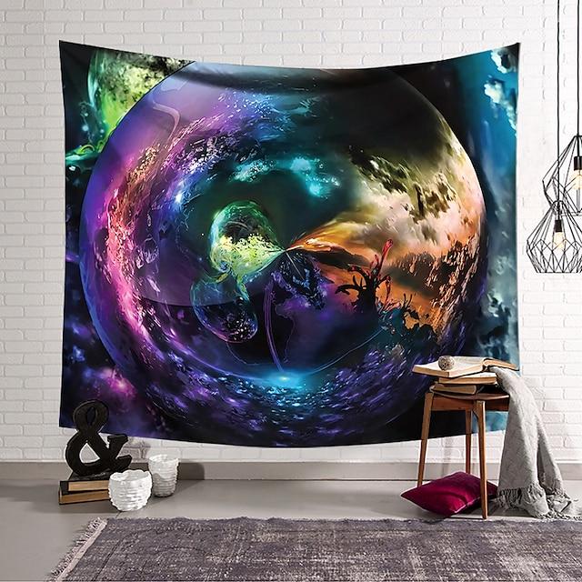 duvar halısı sanat dekor battaniye perde asılı ev yatak odası oturma odası polyester renkli yıldızlı gökyüzü spinning psychedelic