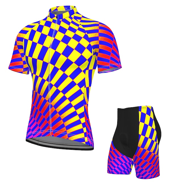 21Grams Bărbați Manșon scurt Jersey de ciclism cu pantaloni scurți Vară Spandex Poliester Mov Bicicletă Costume Pad 3D Uscare rapidă Confortabil la umezeală Respirabil Dungi reflectorizante Sport