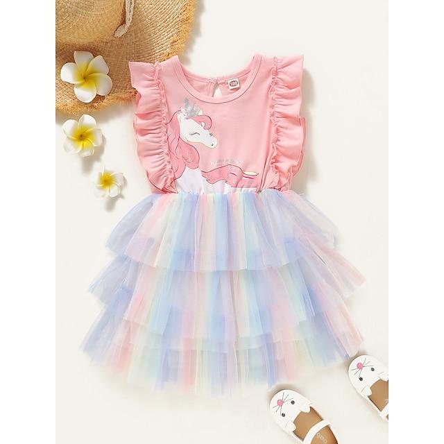 Robe Fille Enfants Bébé Petit à imprimé arc-en-ciel Rose Claire Polyester Sans Manches Actif Robes Eté Standard 2-6 ans
