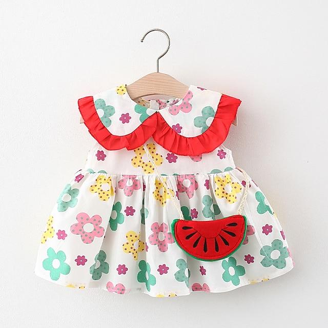 Toddler Little Girls' Dress Floral Print Yellow Green Knee-length Sleeveless Regular Cute Dresses Summer Loose 2-4 Years