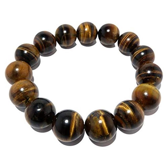 satincrystals tigers eye golden armbånd 13mm boutique gyldenbrun skinnende rund håndlaget stretch tykk b02 (6.5