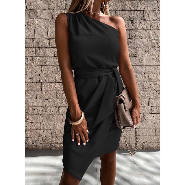 Women's Sheath Dress Short Mini Dress Blue Blushing Pink Black Red Beige Short Sleeve Solid Color Lace up Spring Summer One Shoulder Work Elegant Casual Holiday Regular Fit 2021 S M L XL XXL