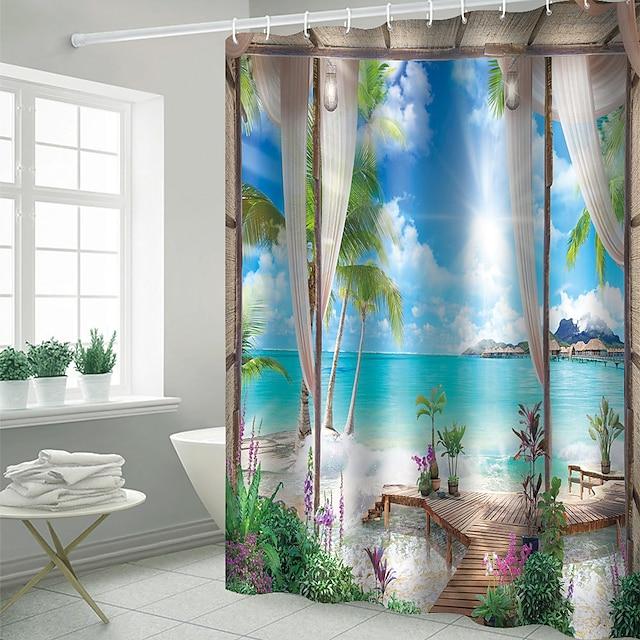 rideaux de douche avec crochets rustique coco baie paysage polyester nouveauté tissu rideau de douche imperméable pour salle de bain