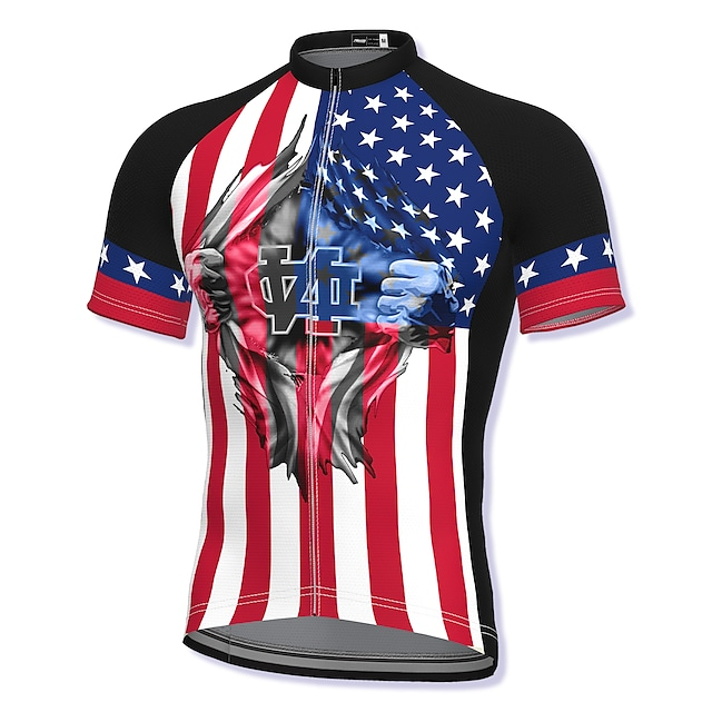 21Grams Men's Short Sleeve Cycling Jersey Summer Spandex Polyester Red American / USA National Flag Bike Jersey Top Mountain Bike MTB Road Bike Cycling Quick Dry Moisture Wicking Breathable Sports