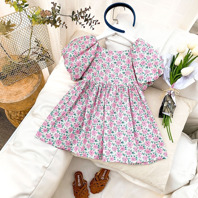 2021 spring and summer new products girls floral dress small and medium-sized children's puff sleeve doll dress baby children's princess dress