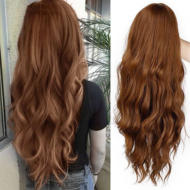 Long Mix Brown Womens Wigs with Bangs Water Wave Synthetic Wigs Heat Resistant Cosplay Pink Red Wigs for Women African American