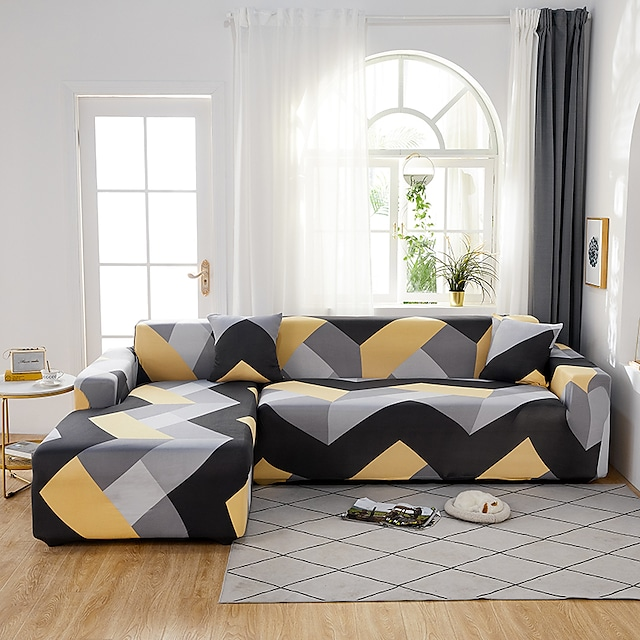 Yellow and Grey Geometric Print Dustproof All-powerful Slipcovers Stretch L Shape Sofa Cover Super Soft Fabric Couch Cover with One Free Pillow Case