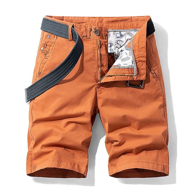 Per uomo Pantaloncini Pantaloncini modello cargo Pantaloncini Largo Pantaloni Tinta unita Cachi Grigio chiaro Arancione Blu scuro