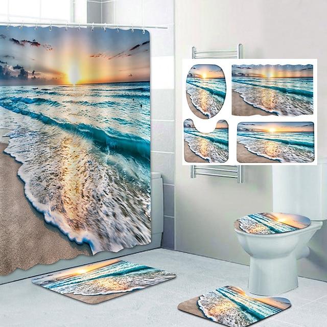 حمام ستارة الحمام ومجموعة الحصير كلاسيكي البوليستر ضد الماء