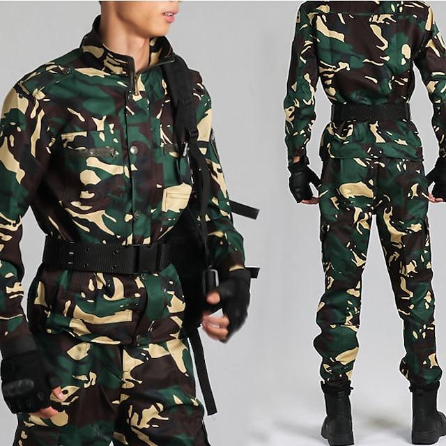 damska męska kurtka turystyczna ze spodniami survival wojskowa kurtka taktyczna jesień wiosna lato outdoor moro termiczna ciepła wiatroszczelna szybkie schnięcie lekka odzież wierzchnia pełna długość