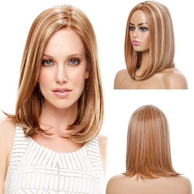 Synthetic Wig Natural Straight Middle Part Wig Medium Length Light Blonde Synthetic Hair Women's Cosplay Party Fashion Blonde