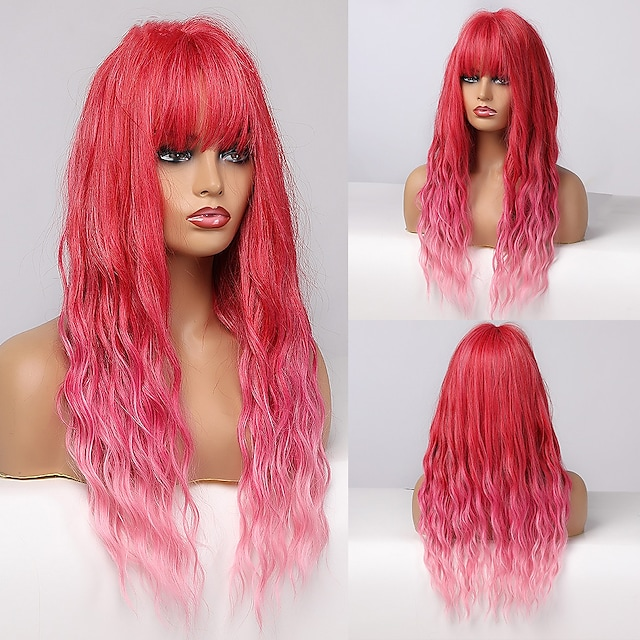 szintetikus paróka mély hullám ügyes bumm paróka közepes hosszúságú a10 szintetikus haj női cosplay party divat piros