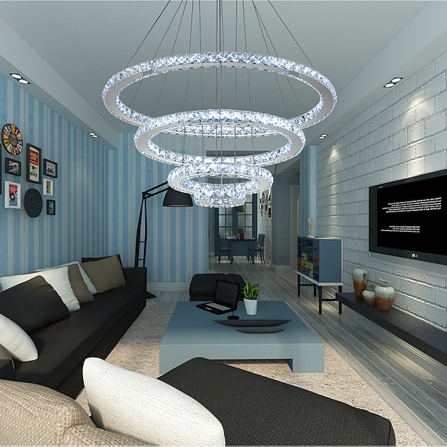 Modern LED Ring Crystal Chandeliers DIY Shape Indoor Pendant Light Lamp Hanging Chandelier Lights Lighting Cristal Suspensions Lamps