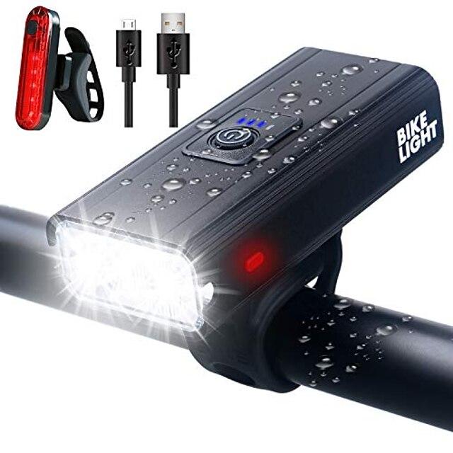 велосипедные фары, сверхяркий USB-аккумулятор, комплект велосипедных фонарей, водонепроницаемая передняя фара и задний фонарь для езды на велосипеде IPX6, 6 режимов освещения