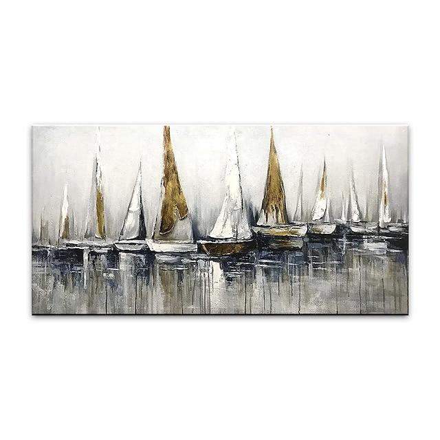 Peinture à l'huile Hang-peint Peint à la main Format Horizontal Abstrait Paysage Moderne Rideau (sans cadre)
