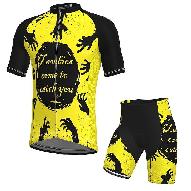 21Grams Ανδρικά Κοντομάνικο Φανέλα και σορτς ποδηλασίας Καλοκαίρι Σπαντέξ Πολυεστέρας Μαύρο / Κίτρινο Ποδήλατο Ρούχα σύνολα 3D Pad Γρήγορο Στέγνωμα Ύγρανση Αναπνέει Αντανακλαστικές Λωρίδες Αθλητισμός