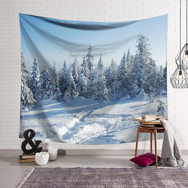 veggteppe kunst dekor teppe gardin hengende hjem soverom stue dekorasjon polyester snø skog
