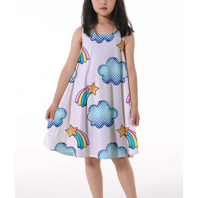 Kids Little Girls' Dress Graphic Ruched Print White Knee-length Sleeveless 3D Print Cute Dresses Loose 4-13 Years
