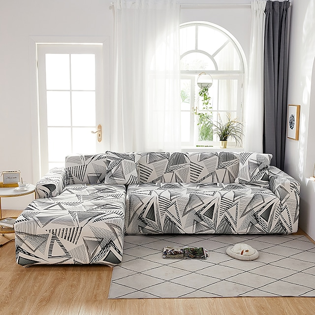 1 Pc Sofa Cover  Geometric Black White Lines  Elastic Living Room Pet Sofa Dust Cover Recliner