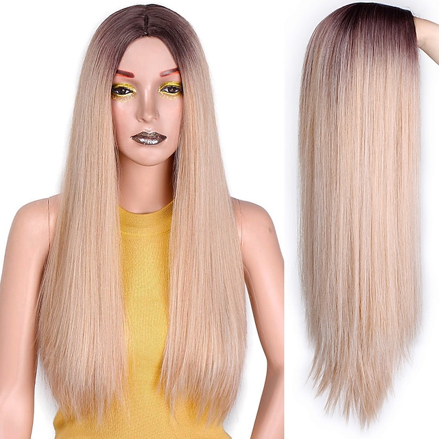Peluca sintética recta larga, pelucas largas mixtas marrones y rubias para mujeres blancas / negras, parte media, pelucas naturales