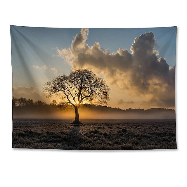 veggteppe kunst dekor teppe gardin hengende hjem soverom stue dekorasjon polyester ensom tre solnedgang landskap