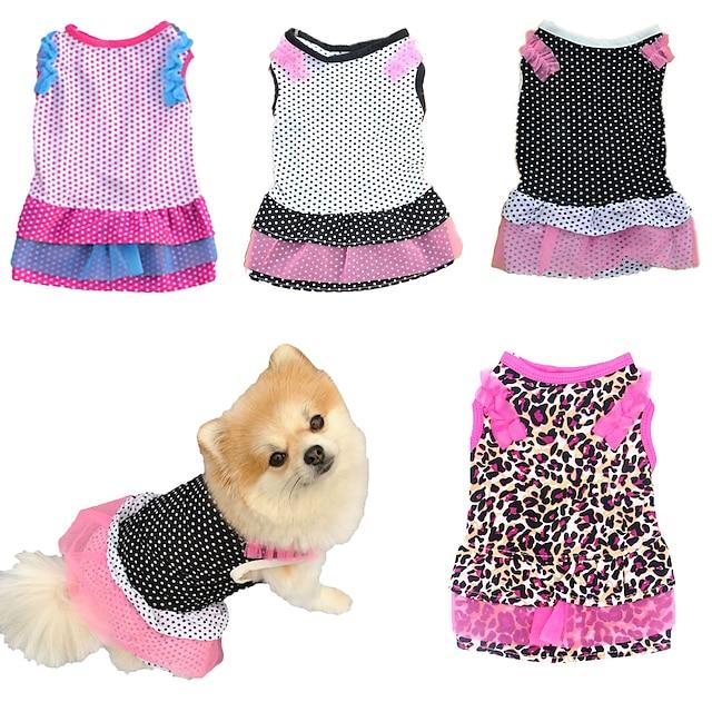 Pisici Câine Rochii Buline Cosplay Nuntă Îmbrăcăminte Câini Haine pentru catelus Ținute pentru câini Leopard Alb Negru Costum Bebeluș Caine mic pentru fată și câine băiat Bumbac XS S M L
