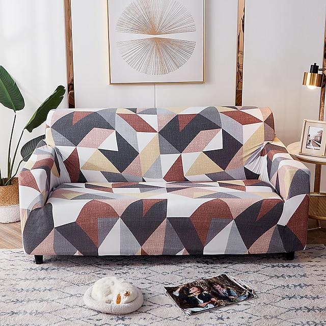 Sofa Cover 1 Pc Geometric Colourful Sofa Cover Elastic  To Living Room Pet Sofa Dust Cover Recliner Sofa Cover