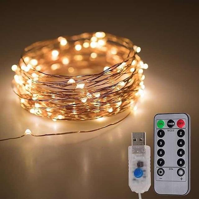 10m 20m Fili luminosi 100/200 LED 1 telecomando a 13 tasti 1 pc Bianco caldo Luce fredda Multicolore Natale Capodanno Feste Decorativo Adatto per veicoli 5 V