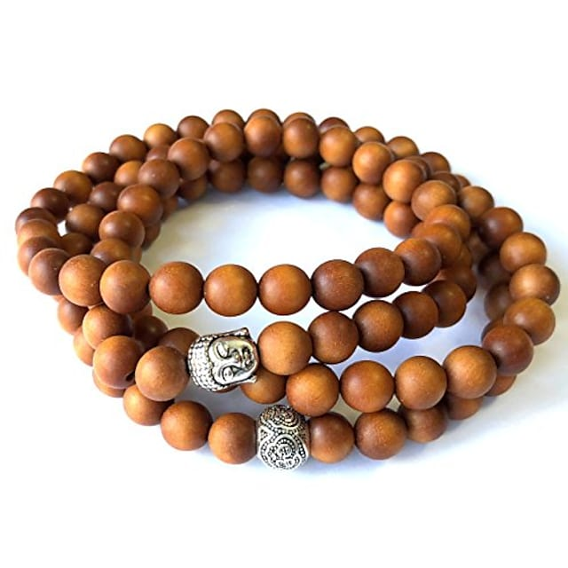 - Mens Womens 108 Bead Sandalwood 8mm Mala Bracelet - Yoga Meditation Beads - Buddha Prayer Beads