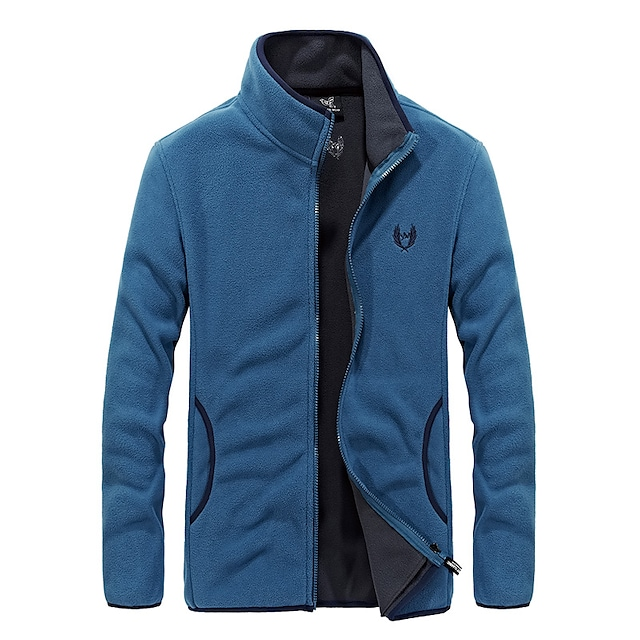 Men's Hiking Jacket Hiking Fleece Jacket Autumn / Fall Winter Spring Outdoor Solid Color Thermal Warm Windproof Quick Dry Lightweight Winter Fleece Jacket Top Hunting Fishing Climbing Black Red Blue