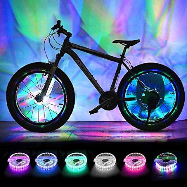 oppladbare sykkelhjullys, ledede sykkel eikerlys sykkelhjul sikkerhet lys, kul sykkel dekk eiker dekorasjon, usb lading, ultra lys, vanntett, gaver til gutter jenter voksne