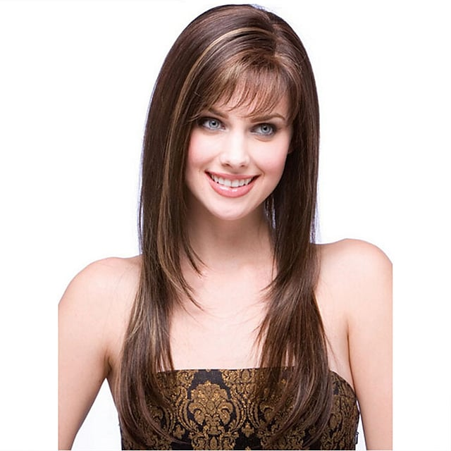 Synthetic Wig Natural Straight Layered Haircut Neat Bang Wig Medium Length Light Brown Synthetic Hair 57 inch Women's Cosplay Party Fashion Brown
