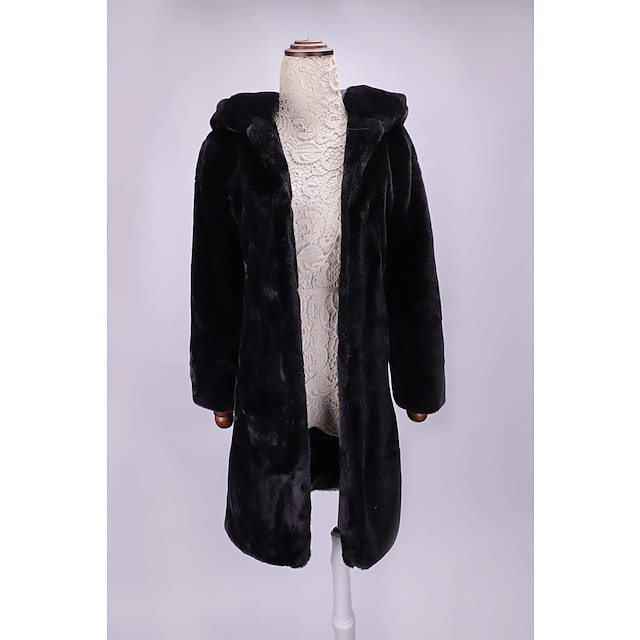 Per donna Cappotto di pelliccia sintetica Tinta unita Autunno inverno Standard Quotidiano Manica lunga Pelliccia sintetica Cappotto Top Nero