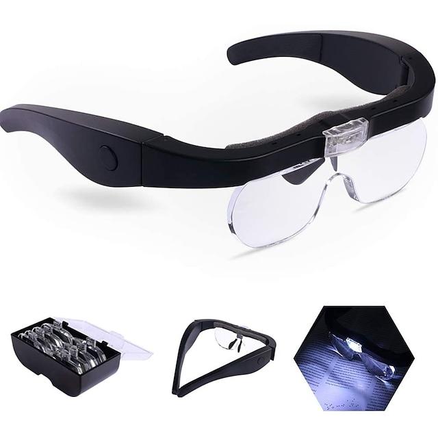 zvětšovací sklo na hlavě, USB nabíjení handsfree lupy se 2 LED světly pro šperky, řemeslné hodinky, hobby a 4 odnímatelné čočky 1,5x, 2,5x, 3,5x, 5x
