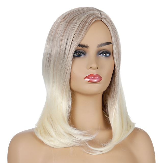 Synthetic Wig Natural Straight Middle Part Wig Medium Length Light golden Synthetic Hair Women's Cosplay Party Fashion Blonde Brown