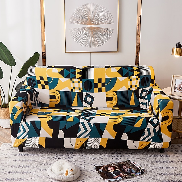 Potah na pohovku Geometrické barevné linie Elastický potah na pohovku do obývacího pokoje Protiprachový potah na pohovku pro domácí mazlíčky