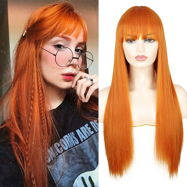 Long Straight Synthetic Wigs Orange Color Women cosplays Wig 30 Inches Central Part Hair Silver Grey White Red Colour