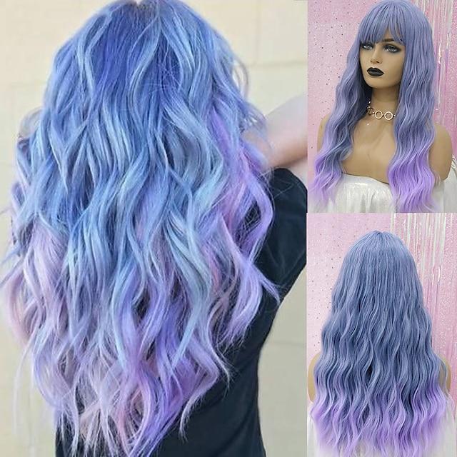Парики из искусственных волос Крупные кудри Аккуратная челка Парик Средние A10 A1 A2 A3 A4 Искусственные волосы Жен. Косплей Для вечеринок Мода Темно-серый Синий