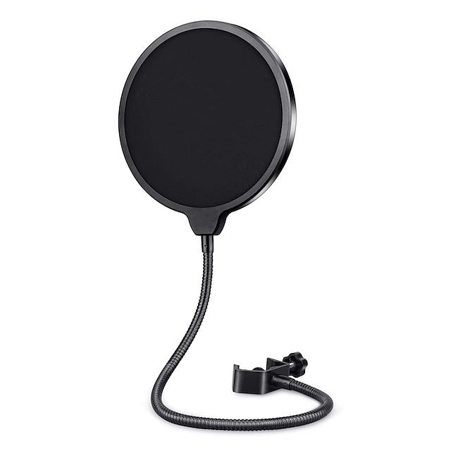 professionell mikrofon popfilter maskskydd för blå yeti och alla andra mikrofoner, mikrofon dubbelskiktad vind pop skärm med en flexibel 360 ° svanhals kläm stabiliserande arm