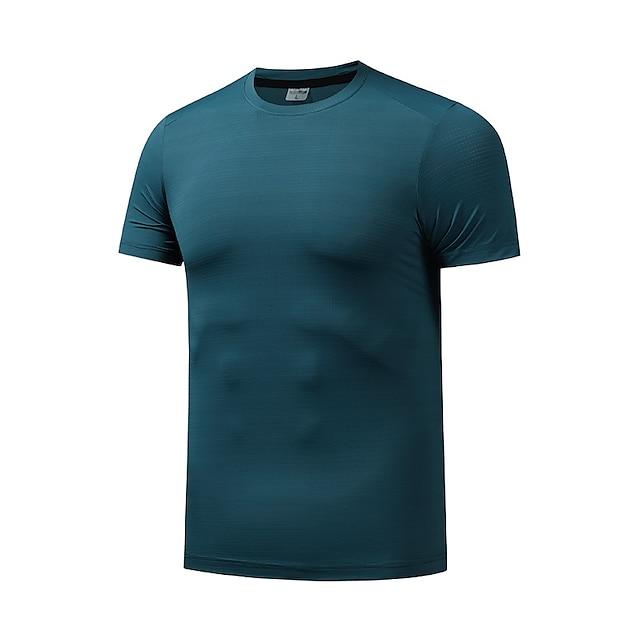 Hombre Camiseta Camiseta para senderismo Manga Corta Cuello Barco Camiseta Cima Al aire libre Secado rápido Ligero Transpirable Suave Otoño Primavera Verano Chinlon Licra Color sólido Blanco Negro