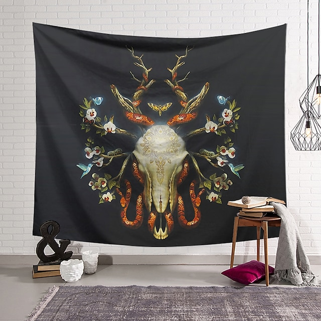 Wall Tapestry Art Decor Blanket Curtain Hanging Home Bedroom Living Room Decoration Polyester Skull