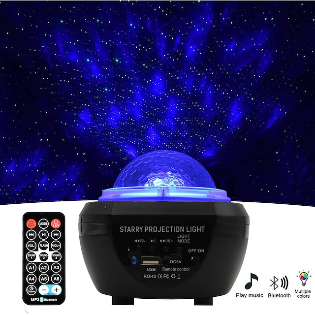 Luz do projetor Star Galaxy Controle Remoto com alto-falante de música Bluetooth Temporizador de desligamento automático Festa Ao ar livre Multicolorido