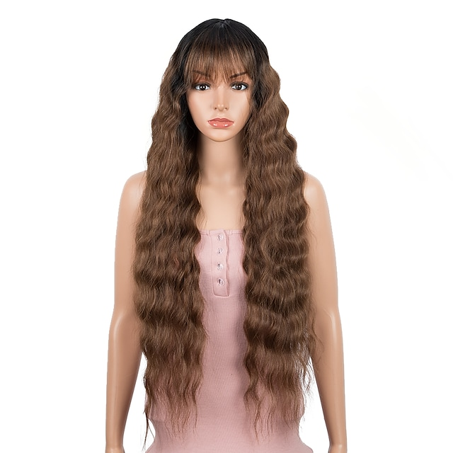 Bella Synthetic Wig Non-lace Wig 30 inch Deep Wave Hair Dark Root Wig With Bangs Synthetic Long Hair Wigs For Women Cosplay