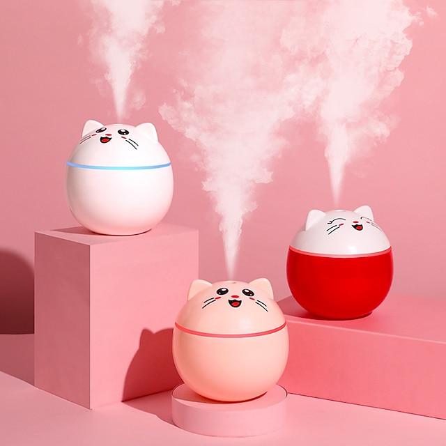 200ml glückliche Katze USB Luftbefeuchter Ultraschall Aroma Diffusor Mini Auto Nebelmacher mit LED-Leuchten tragbaren Büro Luftreiniger