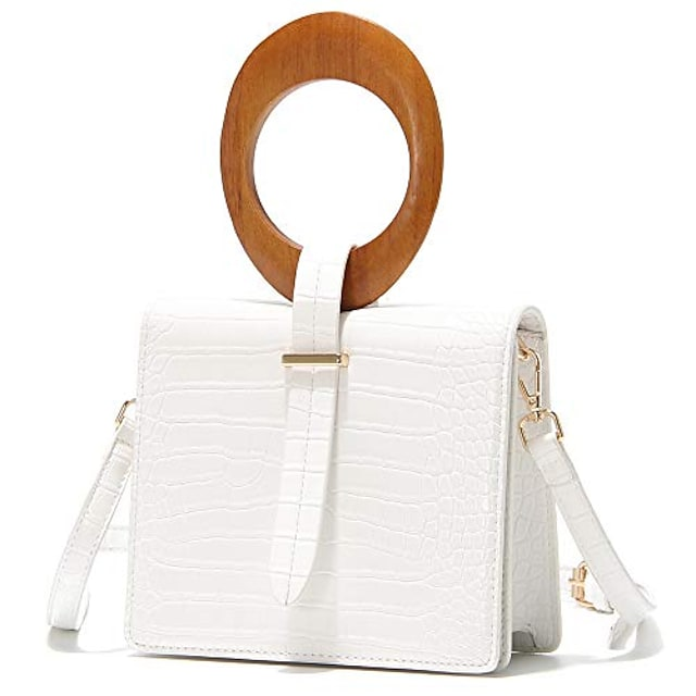 clutch purses for women small crossbody handbag with oval wooden top-handle (white)