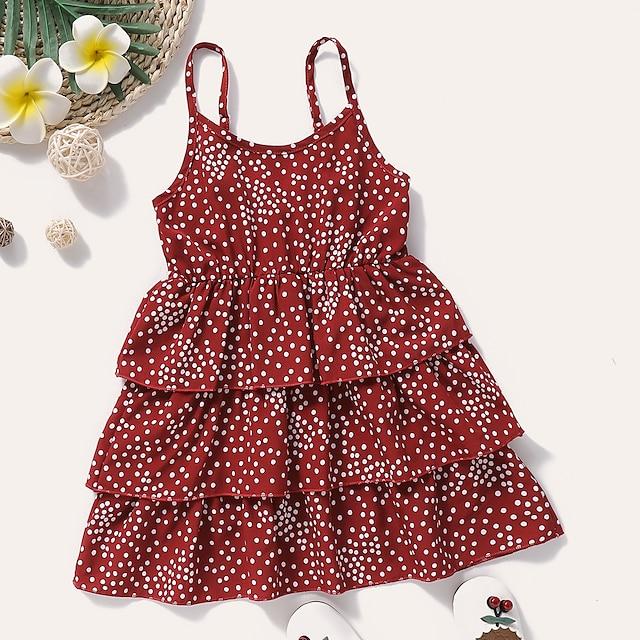 Robe Fille Enfants Bébé Petit Pois Imprimé Rouge Polyester Mi-long Sans Manches Actif Robes Eté Standard 2-8 ans